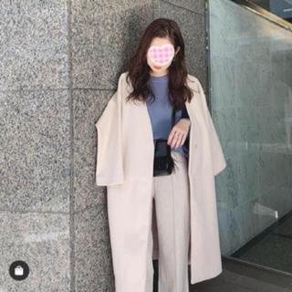 dholic - オシャレでシンプル♡ アイスブルー ノーカラー ロングコート 美人コート