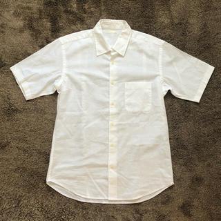 ジーユー(GU)のメンズ 半袖シャツ リネンシャツ ホワイト(シャツ/ブラウス(半袖/袖なし))