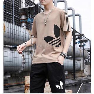 未使用●●薄手半袖Tシャツ短パンセットアップL茶●●半袖ショートパンツ上下セット(その他)