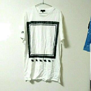 ザラ(ZARA)の【新品】 ラスト1点! ロング丈 モード ストリート Tシャツ 半袖 トップス (Tシャツ/カットソー(半袖/袖なし))