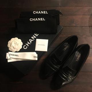 シャネル(CHANEL)のCHANEL☆ブラック オペラシューズ サイズ39 1/2(ローファー/革靴)
