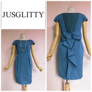 JUSGLITTY - 【JUSGLITTY】 バックリボンドレスワンピース ☆ブルー結婚式パーティー
