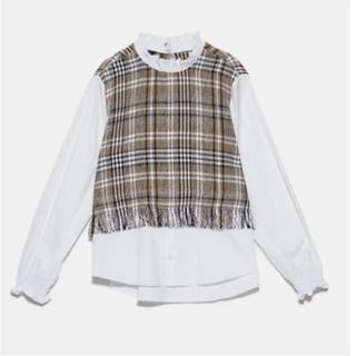 ザラ(ZARA)のZara ツイード チェックシャツ(シャツ/ブラウス(長袖/七分))