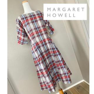 マーガレットハウエル(MARGARET HOWELL)のマーガレットハウエル♡オールドブルーチェック♡ビンテージワンピース(ロングワンピース/マキシワンピース)