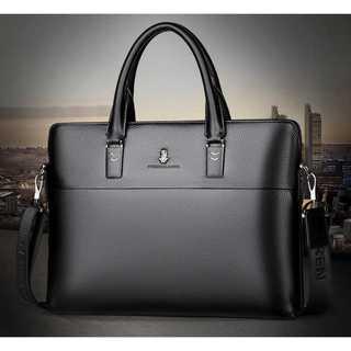 メンズ 牛革 ビジネスバッグ ブラック 高級レザー 日本未入荷 未発売品(ビジネスバッグ)