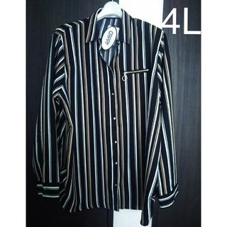 シマムラ(しまむら)のストライプシャツ   4L  大きいサイズ   CAPPY(シャツ/ブラウス(長袖/七分))