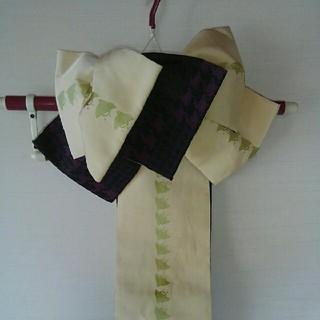 変わり結び作り帯ベージュ若草色×パープル黒 浴衣つくり帯 (浴衣帯)