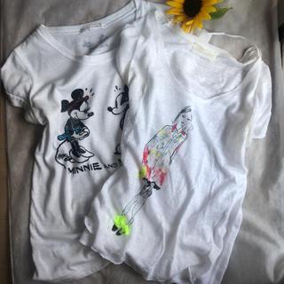 ザラ(ZARA)の【2枚セット】モードレディ柄&ミッキーミニーTシャツ(Tシャツ(半袖/袖なし))