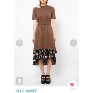 CECIL McBEE - セシルマクビー💠ネックスリット 花柄  ドッキングワンピース
