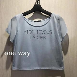 ワンウェイ(one*way)のone way ショート丈Tシャツ*サックスブルー(Tシャツ(半袖/袖なし))