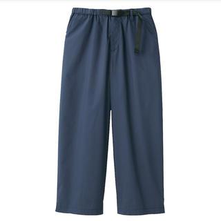 MUJI (無印良品) - 無印良品 ストレッチ高密度織りクロップドワイドパンツ 婦人S・ネイビー
