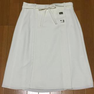 ザラ(ZARA)の新品 ZARA BASIC 白 ひざ丈スカート(ひざ丈スカート)