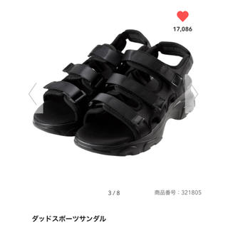 ジーユー(GU)のダッドスポーツサンダル 09 ブラック XL 25cm(サンダル)