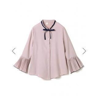 GRL - GRL リボン付プリーツフレアスリーブブラウス ピンク 新作 韓国ファッション