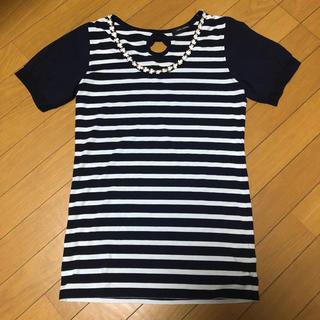 シマムラ(しまむら)のしまむら アベイル ボーダー  Tシャツ L ネイビー ホワイト(Tシャツ(半袖/袖なし))