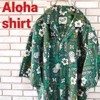 《美品》 アロハシャツ オープンカラー 開襟 ボタニカル  総柄 グリーン