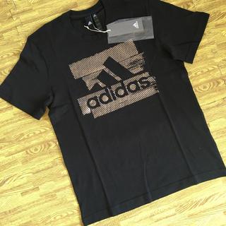 アディダス(adidas)の【新品】アディダス Tシャツ サイズL   ブラックxシルバー(Tシャツ/カットソー(半袖/袖なし))