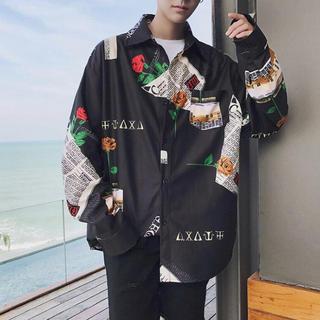 柄 シャツ デート服 オルチャン BTS  ストリート ダンス 衣装 黒