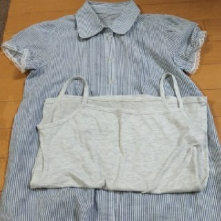 シマムラ(しまむら)のストライプシャツ  キャミソール付き(シャツ/ブラウス(半袖/袖なし))
