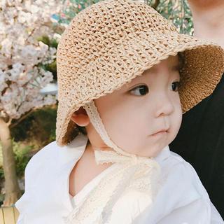 子供用麦わら帽子 ベビー 日よけ帽子ビーチ帽子 折りたたみ式
