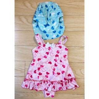 100 水着&帽子セット 女の子 ピンク ブルー(水着)