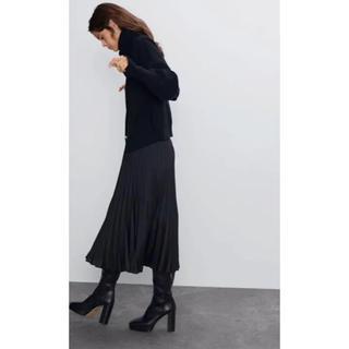 ザラ(ZARA)の【新品・未使用】 ZARA ロングスカート 黒 xs  ブラック【送料無料】(ロングスカート)