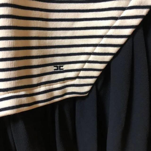 RED VALENTINO(レッドヴァレンティノ)のタグ付き エリザベッタ Vネック ボーダー 裾切り替え ワンピース レディースのワンピース(ミニワンピース)の商品写真