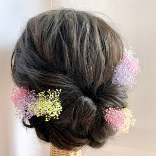 髪飾り*パステルカラー/ かすみ草* 9本 セット シンプルdeかわいい!成人式(ヘアピン)