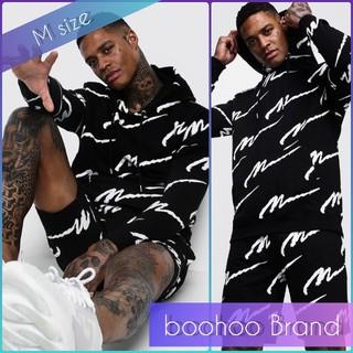 boohoo - 【M】boohoo asos 総柄 上下セットアップ ハーフパンツ ブラック 黒