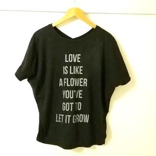 ユナイテッドアローズ(UNITED ARROWS)の美品ユナイテッドアローズ2wayロゴ黒ドルマン風Tシャツ(Tシャツ(半袖/袖なし))