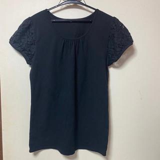 シマムラ(しまむら)の肩袖レースTシャツトップス(黒、ブラック)(カットソー(半袖/袖なし))