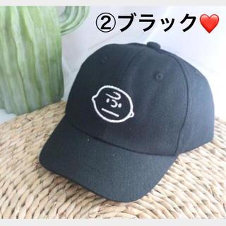 スヌーピー(SNOOPY)の【新品】大人気❗️チャーリーブラウンcap キッズ 帽子 男女兼用 ②ブラック(帽子)