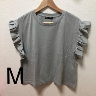 ザラ(ZARA)のZARA フリル付きTシャツ M(Tシャツ(半袖/袖なし))