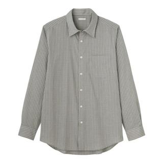 ジーユー(GU)の【新品】GU ブロードシャツ グレーチェック メンズMサイズ(シャツ)
