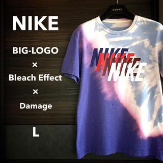 ナイキ(NIKE)の【激レア一点物】NIKE 4連ビッグロゴTEE【ブリーチエフェクト】(Tシャツ/カットソー(半袖/袖なし))