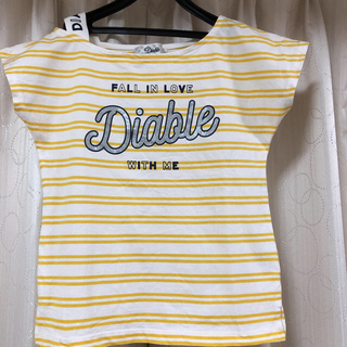 ディアブル(Diable)のDiable ボーダーラメロゴTシャツ(Tシャツ/カットソー)