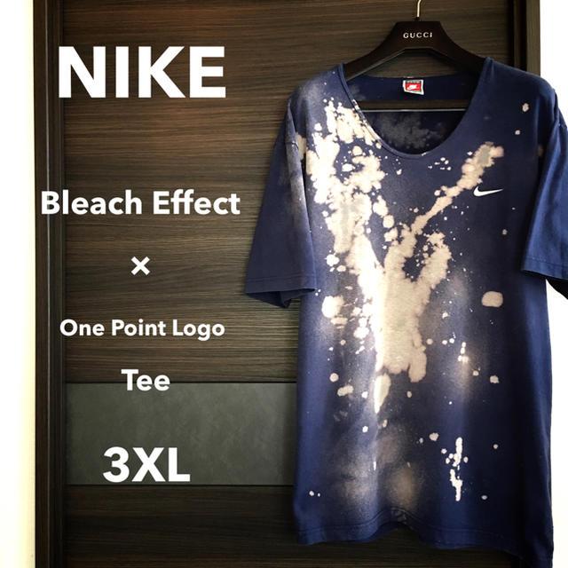 NIKE(ナイキ)の【激レア一点物】NIKEワンポイントロゴ3XL【ブリーチエフェクト】 メンズのトップス(Tシャツ/カットソー(半袖/袖なし))の商品写真