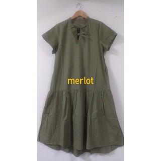 merlot - merlet 胸元リボン結びウエスト切替ギャザーワンピース カーキ F