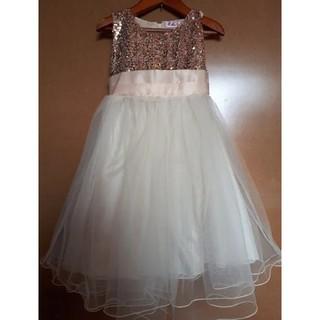 スパンコール ドレス フォーマル シャンパン 130(ドレス/フォーマル)