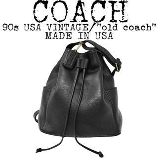 コーチ(COACH)の美品★COACH★オールド コーチ★90s★巾着 ショルダーバッグ★USA製★黒(ショルダーバッグ)