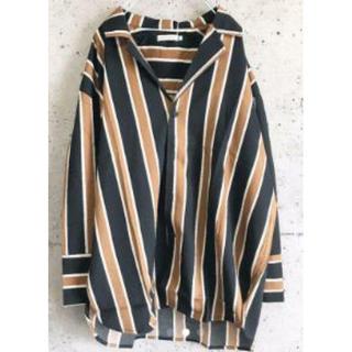 【大人気】ストライプ柄 ジャケット ビッグシルエット シャツ 黒 M