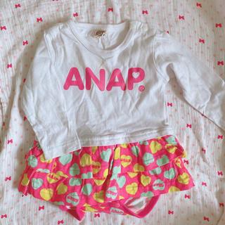 アナップキッズ(ANAP Kids)のアナップ ハートロンパース 60(カバーオール)