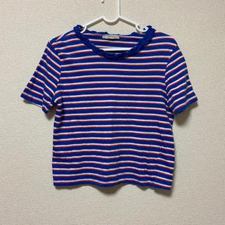 ザラ(ZARA)のトップス ボーダー Tシャツ 半袖 青 ブルー フリル(Tシャツ(半袖/袖なし))