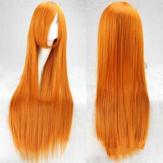 ♡オレンジ♡ ウィッグ 主にコスプレ用 ストレート ロング 100cm(ロングストレート)