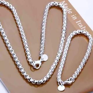 メンズシルバー925ロジウムコーティング ネックレス&ブレスレットセット(ネックレス)