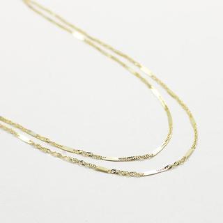 日本製 10金イエローゴールド 40cm 鏡面 ヘリンボーン ネックレス(ネックレス)