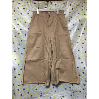 シマムラ(しまむら)の未使用品 ワイドパンツ スカート ベージュ Lサイズ 送料込み(カジュアルパンツ)