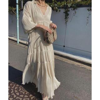 Ameri VINTAGE - Ameri VINTAGE SHIRRING PLEATS DRESS ホワイト