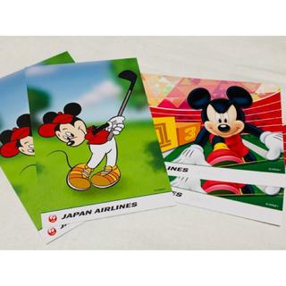 ディズニー(Disney)の【未使用】JAL x ディズニー ポストカード 4枚(キャラクターグッズ)