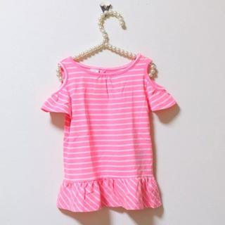 ベビーギャップ(babyGAP)の【定価半額以下】babyGAP♡90♡肩あきカットソー♡ボーダーピンク(Tシャツ/カットソー)